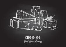Hand drawn vector illustration. Cheese set mozzarella, blue che Royalty Free Stock Photos