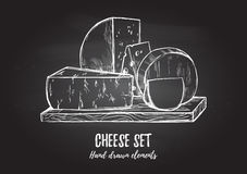 Hand drawn vector illustration. Cheese set mozzarella, blue che Royalty Free Stock Photo
