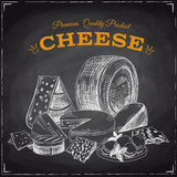Hand drawn vector illustration with cheese. Sketch. Chalkboard Royalty Free Stock Photos