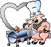 Illustration of an Chef Pig making BBQ Stock Photography