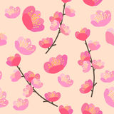 Hand drawn vector illustration. Cherry blossom seamless flowers. Pattern Royalty Free Stock Photography