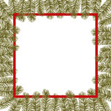 Hand drawn vector illustration - Christmas frame with fir branch Royalty Free Stock Images