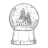 Hand drawn vector illustration - Christmas snow globe  Royalty Free Stock Photos