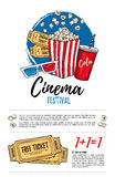 Hand drawn vector illustration - Cinema festival. Movie and film. Elements in sketch style. Ready-to-use design template. Perfect for invitations, cards Stock Image
