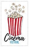 Hand drawn vector illustration - Cinema festival. Popcorn in ske Stock Photos