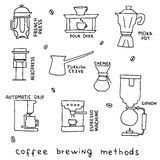 Hand drawn vector illustration of coffee brewing methods. French press, moka pot, pour over, siphon, automatic drip, turkish cezve, aeropress, chemex, espresso Stock Image