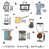 Hand drawn vector illustration of coffee brewing methods Royalty Free Stock Photo
