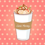Hand drawn vector illustration - coffee drink with chocolate Royalty Free Stock Photography