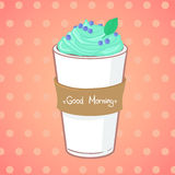 Hand drawn vector illustration - coffee drink with mint Stock Photos