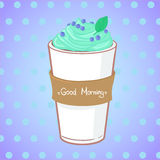 Hand drawn vector illustration - coffee drink with mint.  Stock Images