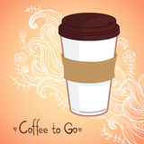 Hand drawn vector illustration - Coffee to go. Background with w. Aves and flowers Stock Photos