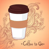 Hand-drawn vector illustration - Coffee to go. Background with w Royalty Free Stock Photo
