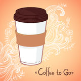 Hand drawn vector illustration - Coffee to go. Background with waves and flowers Stock Photography