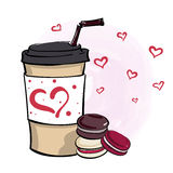 Hand drawn vector illustration with coffee to go cup and mini ma Stock Photography