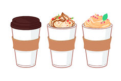 Hand drawn vector illustration - Coffee to go and other sweet de Royalty Free Stock Photography