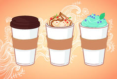Hand drawn vector illustration - Coffee to go and other sweet de. Sserts. Background with waves and flowers Stock Photo