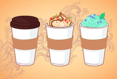 Hand-drawn vector illustration - Coffee to go Royalty Free Stock Photography