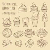 Hand drawn vector illustration - collection of goodies, sweets, cakes and pastries. Design elements in sketch style for confectionery and coffee shops. Perfect Stock Images