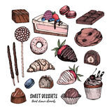 Hand drawn vector illustration - collection of goodies, sweets, Royalty Free Stock Photography