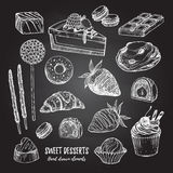 Hand drawn vector illustration - collection of goodies, sweets, Royalty Free Stock Photos