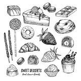Hand drawn vector illustration - collection of goodies, sweets, Stock Photos