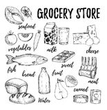 Hand drawn vector illustration - collection of grocery elements. Royalty Free Stock Photo