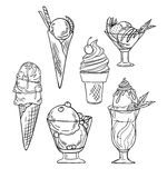 Hand drawn vector illustration - Collection of ice cream. Stock Image