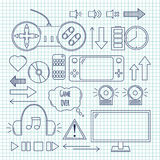 Hand drawn vector illustration - Computer games. Design elements. In linear style. Icons set Stock Photography