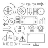 Hand drawn vector illustration - Computer games. Design elements. In linear style. Icons set Royalty Free Stock Photos