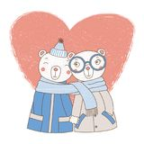 A couple of bears wrapped in one scarf. Hand drawn vector illustration of a couple of cute funny bears in coats, holding hands and wrapped in one scarf, with Royalty Free Stock Photo