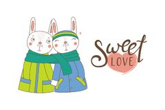 A couple of bunnies wrapped in one scarf. Hand drawn vector illustration of a couple of cute funny bunnies in coats, holding hands and wrapped in one scarf, with Stock Photos