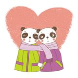 A couple of pandas wrapped in one scarf. Hand drawn vector illustration of a couple of cute funny pandas in coats, holding hands and wrapped in one scarf, with Stock Images