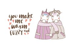 A couple of unicorns wrapped in one scarf. Hand drawn vector illustration of a couple of cute funny unicorns in coats, holding hands and wrapped in a scarf, with Stock Photos