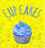 Hand drawn VECTOR illustration of cupcake on thread background. Blue and yellow bright colors. Royalty Free Stock Photography