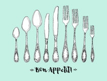 Hand drawn vector illustration of curly ornamental silver tableware, cutlery on mint background. Stock Photography