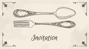 Hand drawn vector illustration of curly ornamental silver tableware, cutleryon a beige background watercolor background  Royalty Free Stock Image
