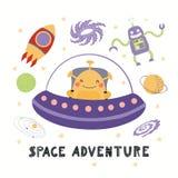 Cute alien in space royalty free illustration