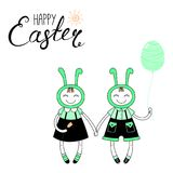Cute Easter bunny card. Hand drawn vector illustration of cute cartoon girl, boy in bunny costumes, with Happy Easter text. Isolated objects. Vector illustration Stock Images