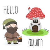 Hand drawn vector illustration with cute cartoon gnome and house mushroom. Hello autumn card. Stock Image