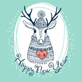 Hand drawn vector illustration with cute deer. Royalty Free Stock Photography