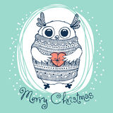 Hand drawn vector illustration with cute eagle owl Stock Images