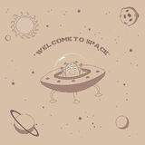 Cute alien poster. Hand drawn vector illustration of a cute funny alien in a flying saucer in outer space, with text Welcome to space. Isolated objects. Unfilled Royalty Free Stock Images