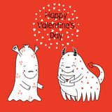 Cute monsters Valentines day greeting card. Hand drawn vector illustration of cute funny alien monsters, with romantic quote.  objects. Black and white cartoon Royalty Free Stock Images