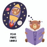 Cute bear reading a book royalty free illustration