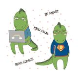 Cute geeky dragons. Hand drawn vector illustration of a cute funny cartoon dragons in glasses and sweatshirt, holding a comic book, with laptop computer, text Stock Photo