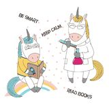 Cute geeky unicorns. Hand drawn vector illustration of a cute funny cartoon unicorns in glasses, reading a book, in a lab coat, with chemical reagents, text Stock Photos