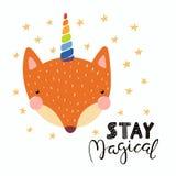 Cute unicorn fox vector illustration