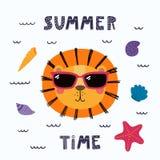 Cute summer lion stock illustration