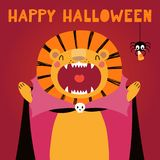 Cute lion in Halloween costume royalty free illustration