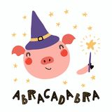 Cute witch pig. Hand drawn vector illustration of a cute funny pig in a witch hat, holding magic wand, with lettering quote Abracadabra. Isolated objects Royalty Free Stock Photography